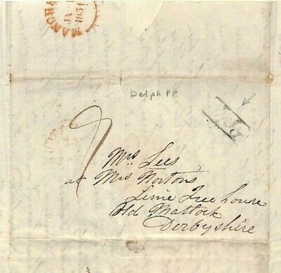 GB LETTER *Delph Penny Post* Lancs 1830 Cover Old Matlock Derbys MS3044