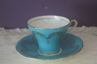 Beautiful Aynsley Corset Shaped Tea Cup And Saucer Blue With Gold