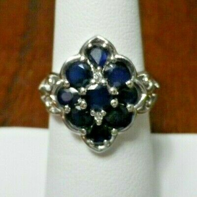 DARK BLUE SAPPHIRE 925 STERLING SILVER RING Platinum Overlay Size 6