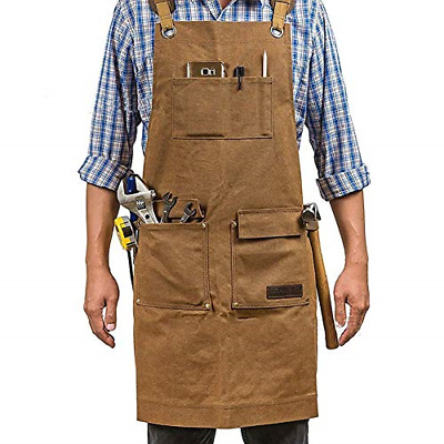 Waxed Canvas Work Apron 5 Pockets Adjustable Engineers Carpenter Handymen New