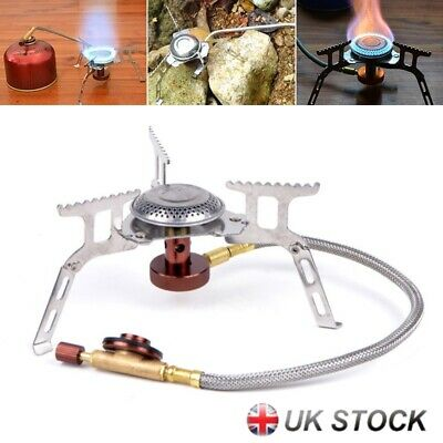 Portable Mini Outdoor Stove Compact Camping Hiking Fishing Gas Heater Cooker UK