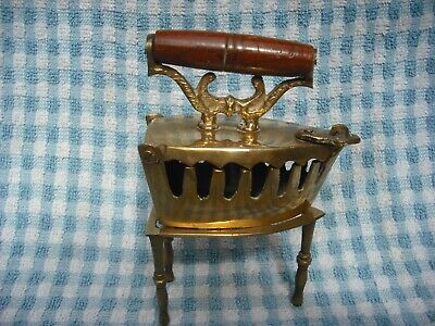 small brass coal iron with stand, collectible item 1920's?