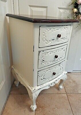 Lovely Heavy French Country Style Hardwood Bedside Chest of 3 Carved Drawers