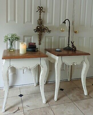 Pair of Large French Style 1 Drawer Occasional Bombe Tables Heavy Solid Hardwood