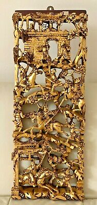 Antique Chinese Exquisite Carved Deep Relief Gilt Wood Warriors Scenes Panel