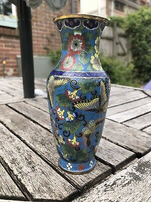 Chinese Closionne Vase 19Th Century Qing Butterfly Decoration