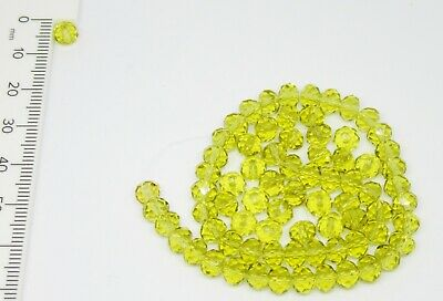 75 x Faceted Rondelle Crystal Glass Beads  4 x 6mm Jewellery Making YELLOW