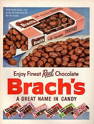 Original 1954 Brach's Real Chocolate Broxies Jots Mallows Clusters Print Ad