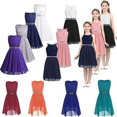 Flower Girl Dress Princess Party Wedding Bridesmaid Formal Gown Kid Lace Dresses