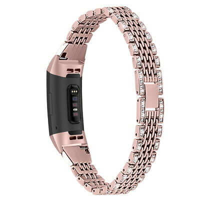 For Fitbit Charge 3 Rhinestone Metal Link Watch Band Strap Wristband Bracelet