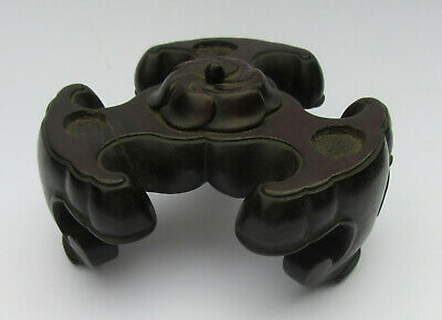 18th/ 19th C Chinese 3 Lobed Carved Hardwood Bat Feet Censer Stand, Central Boss
