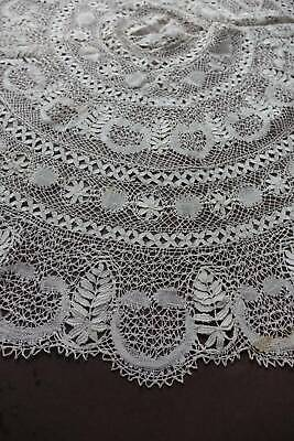 "Antique UNUSED white Maltese lace tablecloth or centre. 27"" diameter"