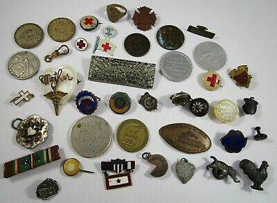 Junk Drawer Jewelry Drawer Lot Vintage Pins Coins Premiums 107 Grams