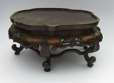 """Massive Near 10"""" Ornate Chinese Hardwood Stand For Fabulous Beast Or Carving"""