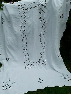 Vintage Madeira Tablecloth Banquet Huge Bedspread Embroidery Cutwork Cotton