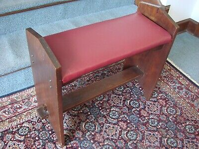 Antique Keyed Stretcher Fireside Bench Arts & Crafts Mission Craftsman Stickley