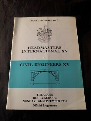 1982-Headmasters International Xv V Civil Engineers Xv-@Rugby School-Programme