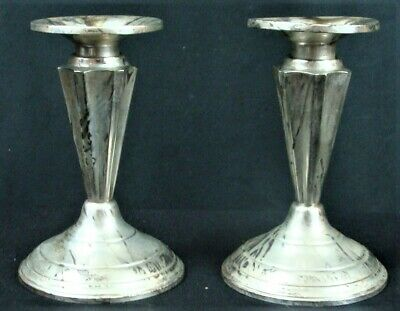 Vintage Art Deco Sterling Silver Weighted Candlesticks Not Scrap LR