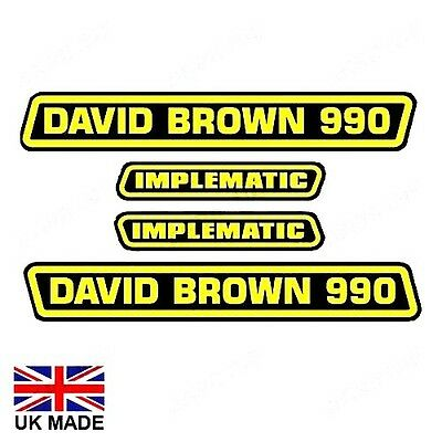Decal Set Fits David Brown 990 Implematic Tractors.