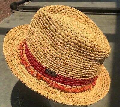 3c50c2254 WALLAROO HAT COMPANY Women's Tahiti Fedora Sun Hat Red Trim with Red Beading