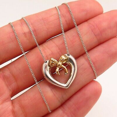 Tiffany & Co. 925 Sterling Silver 750/18K Gold Heart Bow Pendant Chain Necklace