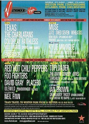 V Festival 2001 Flyer UK Muse Foo Fighters Red hot chili peppers Coldplay Doves