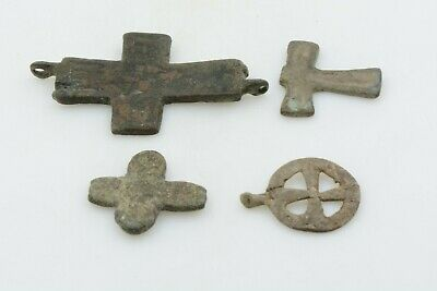 Lot 4 Byzantine bronze cross crosses 600-900 AD