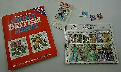 """Stanley Gibbons """"Collect British Stamps"""" Colour Checklist 43rd Edition + Stamps"""