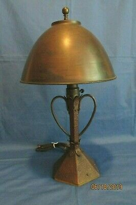Rare Antique Arts & Crafts Hammered Copper Desk Lamp Helmet Shade