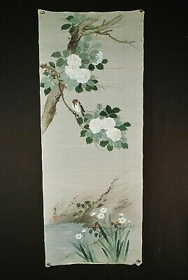 SIGNED JAPANESE SCROLL / PAINTING - Hand Painted on Silk  # 3 of 3