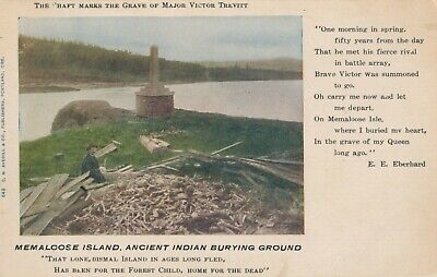 1906 Memaloose Island Ancient Indian Burying Ground, Columbia River, OR Postcard