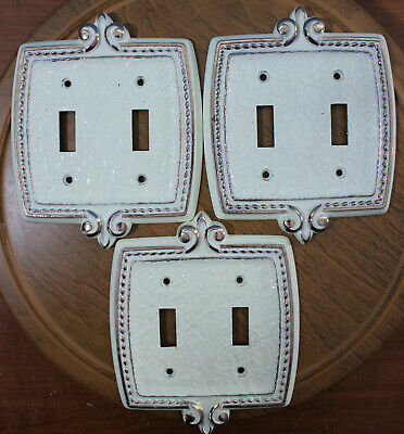 Amerock Bonaventure Antique White Double Switch Plate Cover