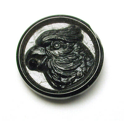 """Antique Black Glass Button Parrot with Berry in Beak  1/2"""""""