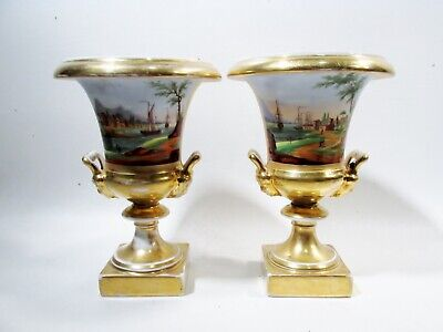 Antique Pair Old Paris Porcelain Urns Vases HP Harbor Landscapes & Floral Swags
