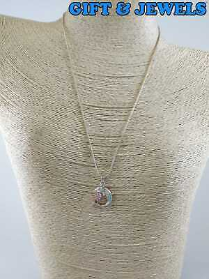 """STERLING SILVER 925 LAB OPAL PINK STONE NECKLACE 18"""" DOLPHIN PENDANT 7 G #am879"""