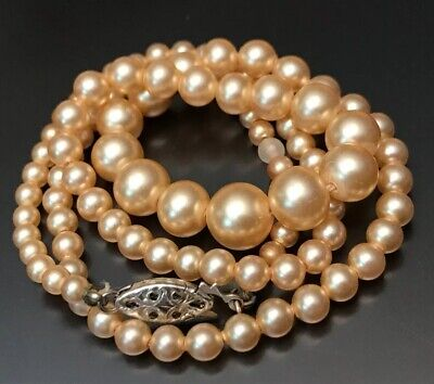 10K WHITE GOLD Graduated Champagne Glass PEARL PEARLS NECKLACE ANTIQUE Art Deco