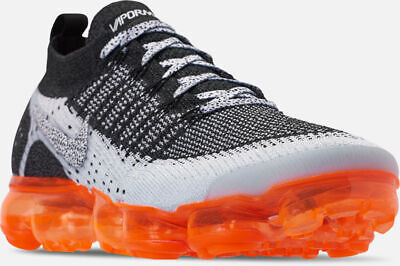 Nike Air Vapormax Flyknit 2 Running Shoes Grey Black Orange Sz 7 942842 106