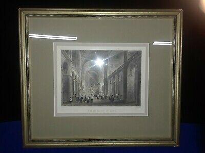 Rare Antique St. Marks Basilica Original Steel Engraving 1800s Lalaisse