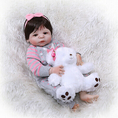 "23"" Reborn Baby Dolls Full Body Silicone Girl Washable Real Size Toddler dolls"