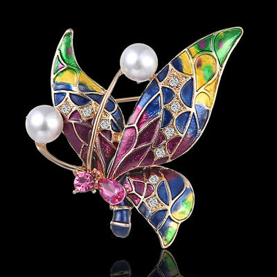 Cute Insect Butterfly Brooches Pins for Women Crystal Scarf Brooch AccessoriesJA
