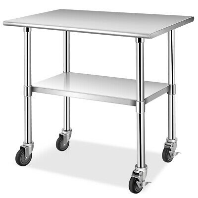 """36"""" x 24"""" NSF Stainless Steel Commercial Kitchen Prep & Work Table w/ 4 Casters"""