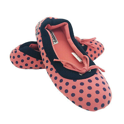Ladies Slippers Grosby Hoodies Ballet Slipper Spotty Jersey Soft Washable M L XL