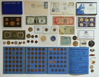 HUGE Coin Collection US Proof Sets, SILVER, Paper Money, Dollars Junk Drawer Lot