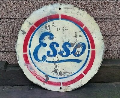 "ESSO Round Metal Sign, Antique Vintage style from old oil barrel 13-1/2"" dia"