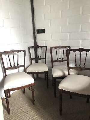 Antique Walnut Set Of 4 Dining Chairs Vintage Solid Timber