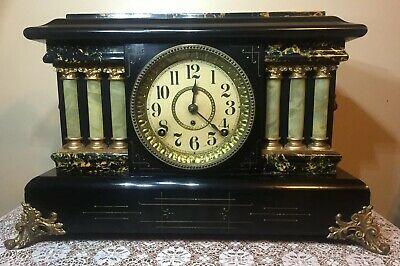 Antique Seth Thomas Adamantine 6 Column Lions Mantle Clock Rebuilt 89C Movement