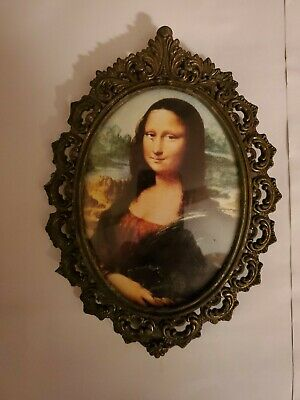 Small Vintage Oval Ornate Picture The Mona Lisa Brass Frame Leonardo Da Vinci 7""