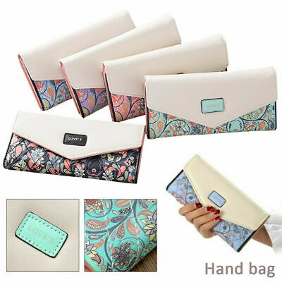 Fashion Envelope Women Wallet Hit Color 3Fold Flowers Printing PU Leather Wallet