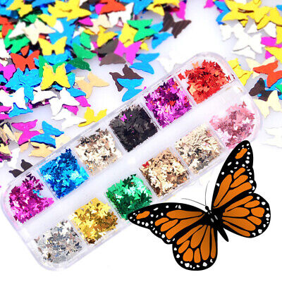 12/Set Butterfly Shape Nail Flakes 3D Laser Glitter Sequin Nail Art Decorations