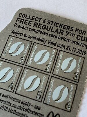 Mcdonalds Coffee Uv Light Loyalty White Stickers X 300–  50 Cups Exp 31-12-19